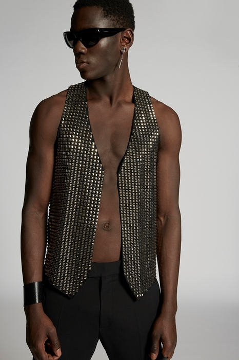 DSQUARED2 Men Vest Black Size 36 95% Virgin Wool 5% Elastane