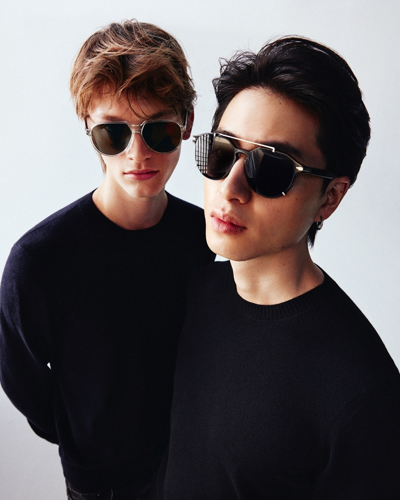 Models Daniel O. and Son Pham don Dior eyewear for Mytheresa.