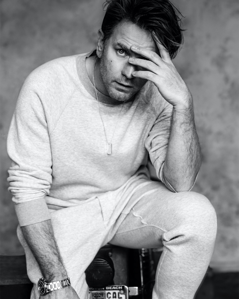 Showcasing leisure style, Ewan McGregor wears a look from Tom Ford for VMAN magazine.