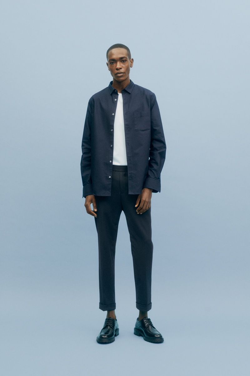 Timeless style is front and center as Sharif Idris models a look from Filippa K's Core collection.