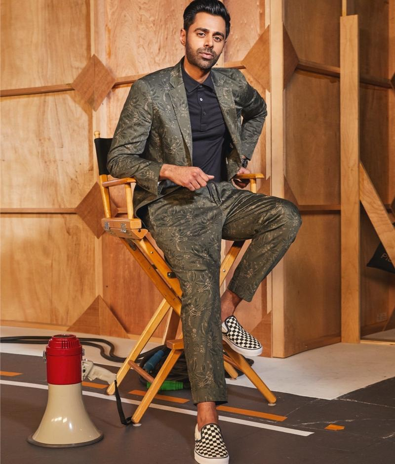 Dressed to impress, Hasan Minhaj sports a Todd Snyder Italian floral traveler suit jacket and dress pants.