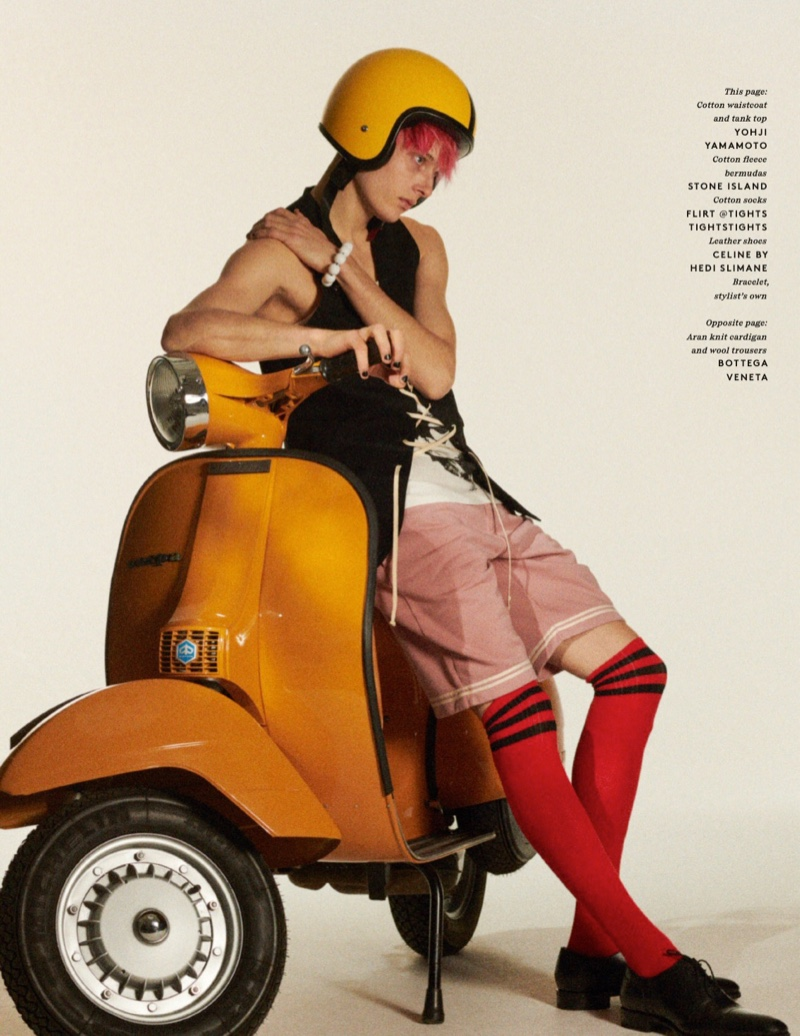Teen Spirit: Hugh Secures His Helmet for Vogue Hommes