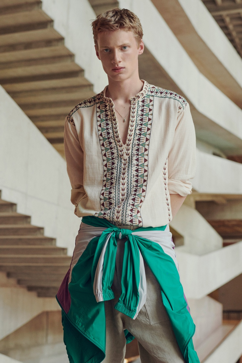Connecting with Isabel Marant for spring-summer 2021, Braien Vaiksaar showcases a look from the brand's current men's collection.