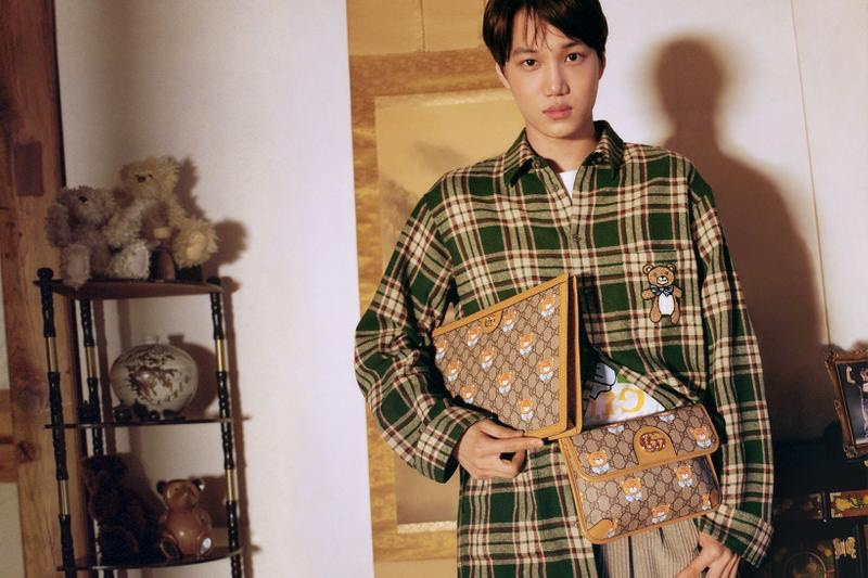 Gucci enlists Kai for a special capsule collection that features teddy bear-themed items like a plaid shirt and leather accessories.