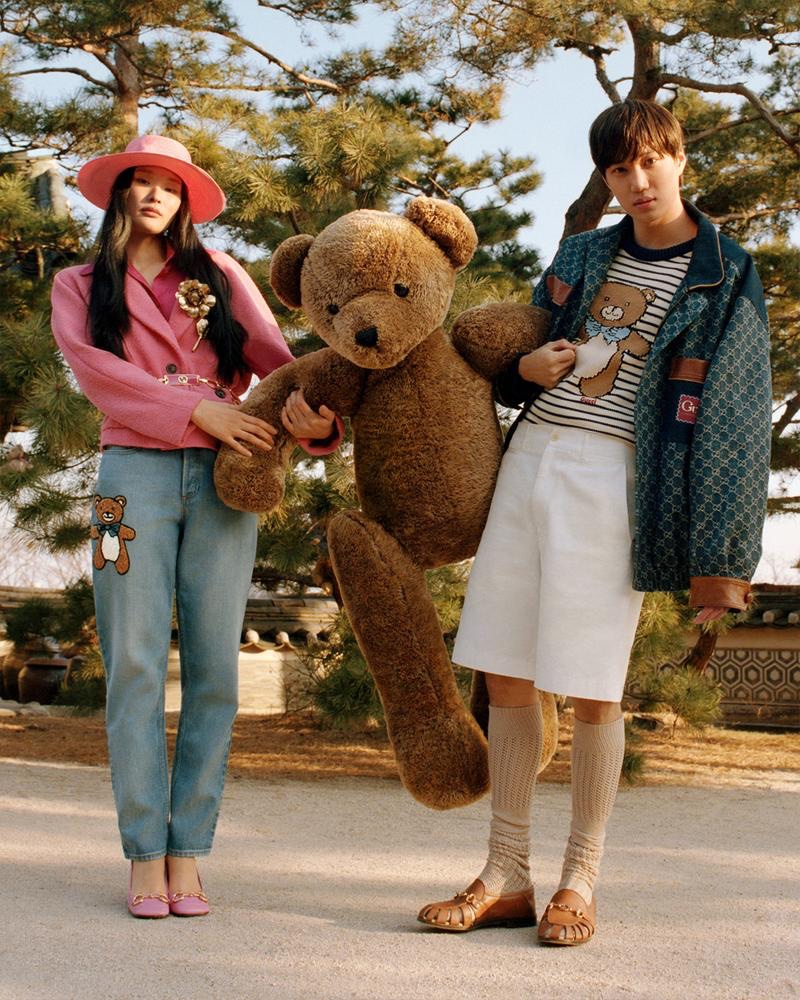 Singer Kai appears in a new campaign for his teddy bear-themed Gucci capsule collection.