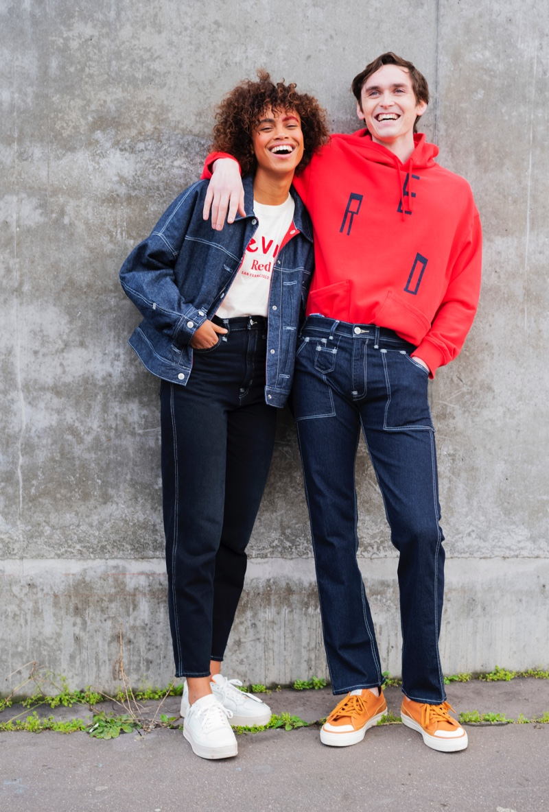 All smiles, models Hanna Lhoumeau and Anders Hayward come together in clothes from Levi's Red.