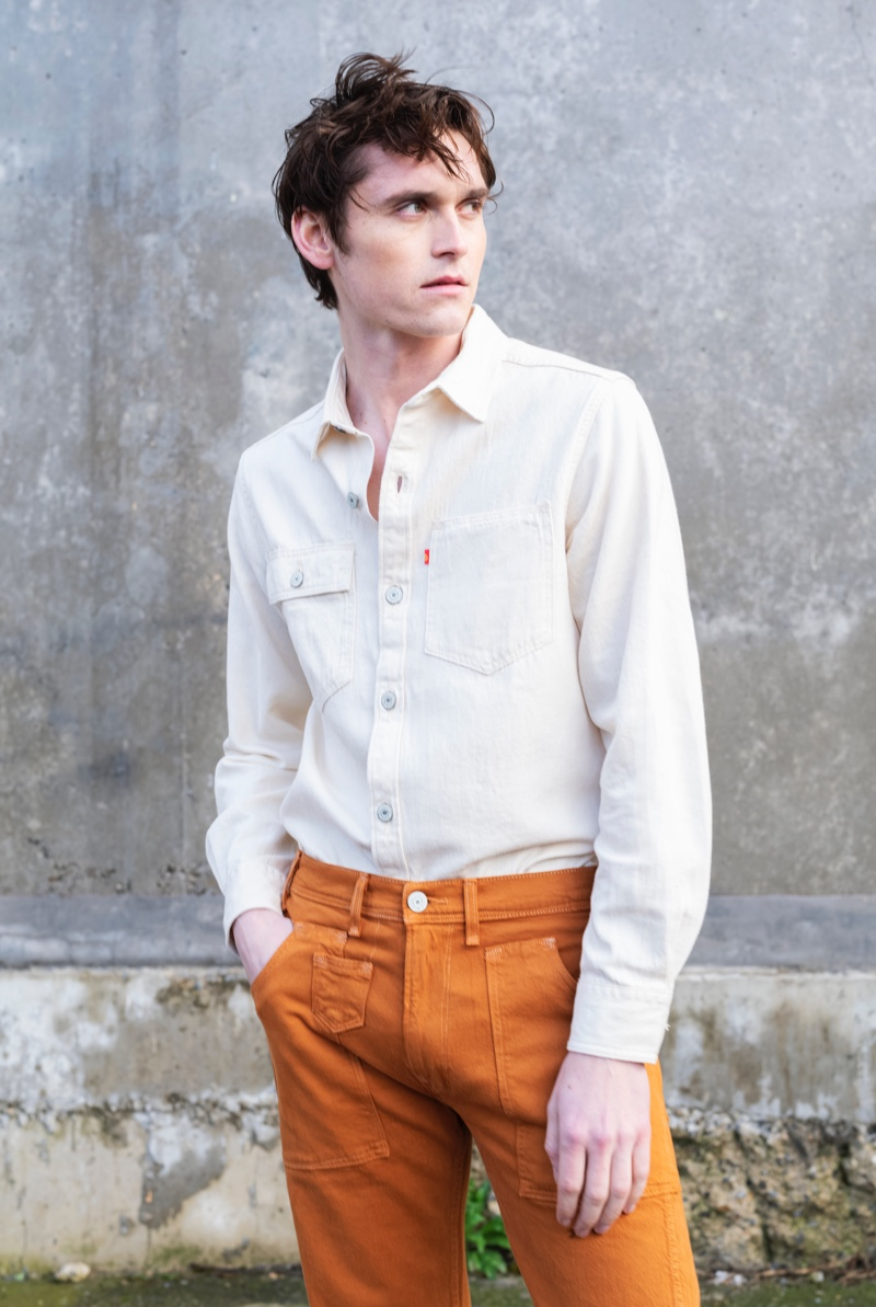 British model Anders Hayward wears a look from Levi's Red's spring 2021 men's collection.