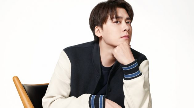 Rocking a varsity jacket, Li Yifeng fronts BOSS's spring-summer 2021 men's campaign.