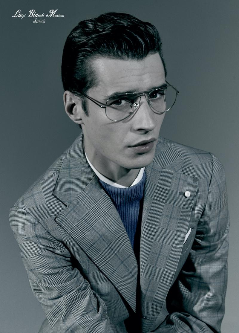 A smart vision in glasses, Adrien Sahores stars in Luigi Bianchi Mantova's spring-summer 2021 campaign.