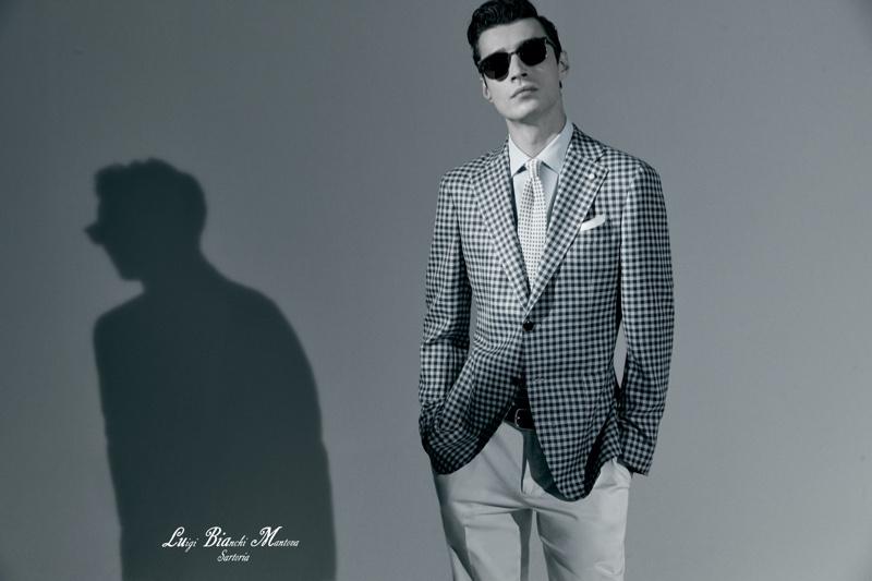 Model Adrien Sahores appears in Luigi Bianchi Mantova's dapper spring-summer 2021 campaign.