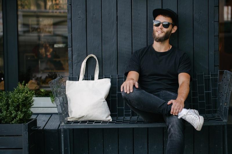 Male Model Black T Shirt Jeans Sitting Eco Friendly Reusable Bag