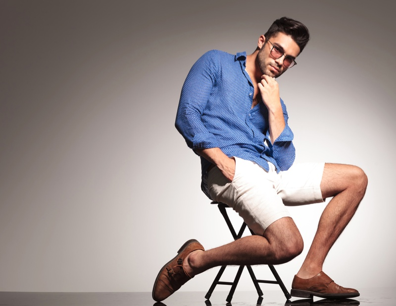 Male Model Blue Button-Up Shirt White Shorts Brown Shoes