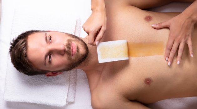 Male Model Wax Strip Chest Hair