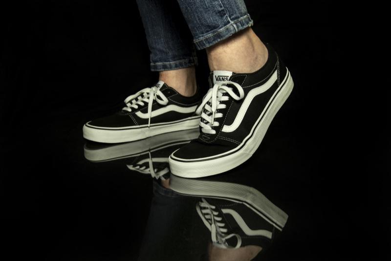 Male Wearing Black White Vans Sneakers