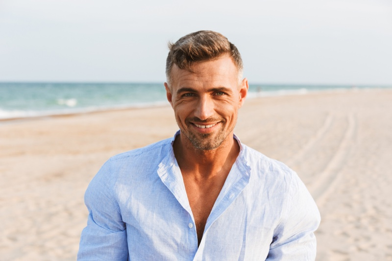Man Beach Smiling Grey Hair Older