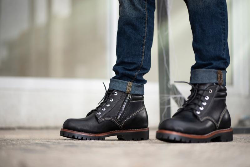Man Black Boots Jeans