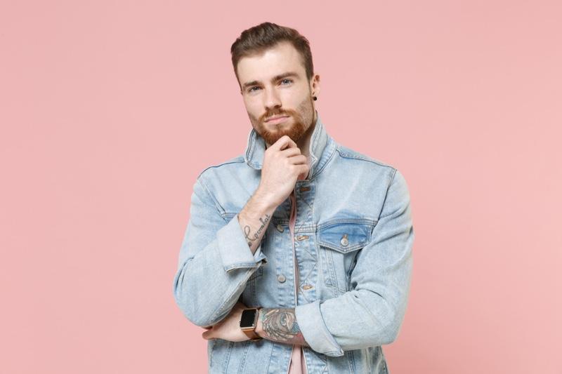 Man Light Wash Denim Jacket Tattoos Pink shirt