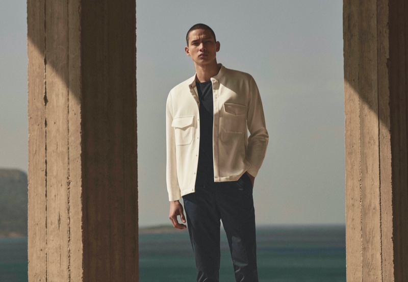 Appearing in Massimo Dutti's spring 2021 Limited Edition campaign, Tommy Vanden Meerssche wears a cotton overshirt.