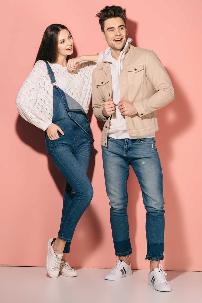 Model couple Jeans Overalls Sneakers Outfits