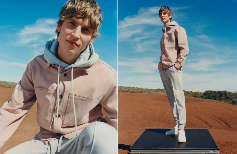 Reserved enlists Thom Voorintholt to star in its spring 2021 lookbook. Going sporty, Thom rocks the brand's hoodie and jogger-inspired trousers with classic sneakers.