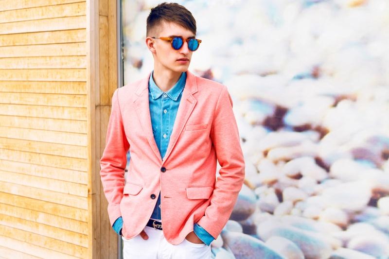 Stylish Male Pink Blazer Blue Shirt Sunglasses
