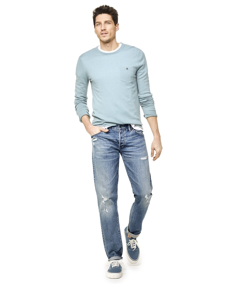 Todd Snyder Slim Fit Japanese Stretch Selvedge Jeans Destroyed Wash