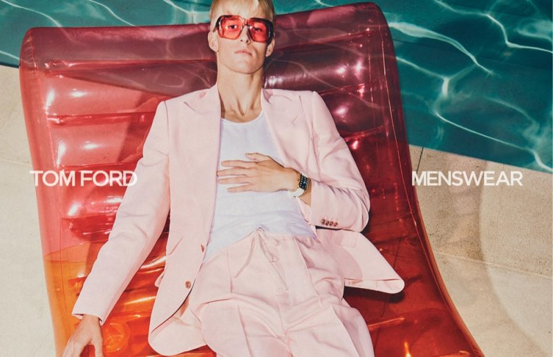 Troy N. sports a pink suit for Tom Ford's spring-summer 2021 men's campaign.