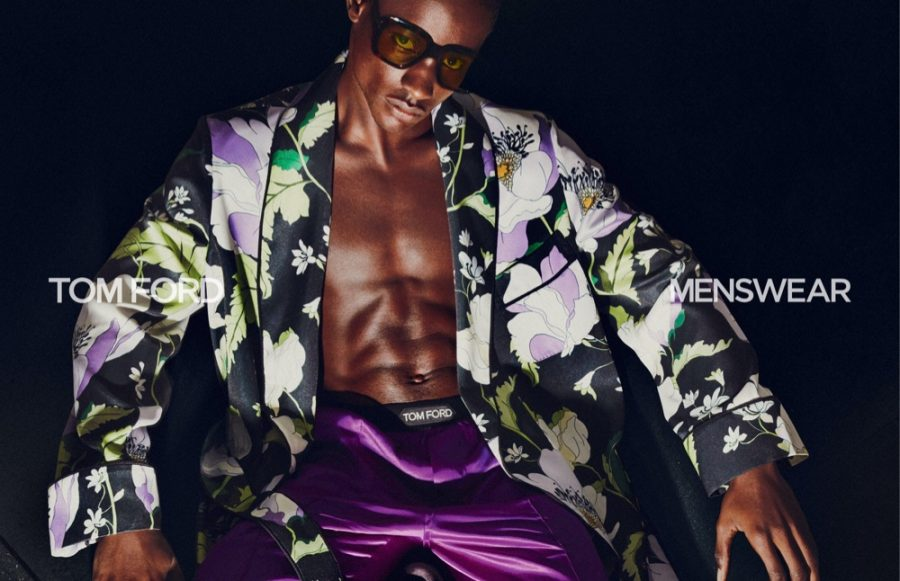 Making a case for luxurious loungewear, Victor Ndigwe fronts Tom Ford's spring-summer 2021 men's campaign.