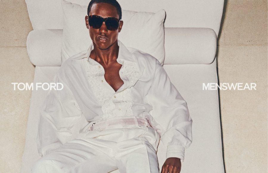 Victor Ndigwe models a striking white look for Tom Ford's spring-summer 2021 men's campaign.