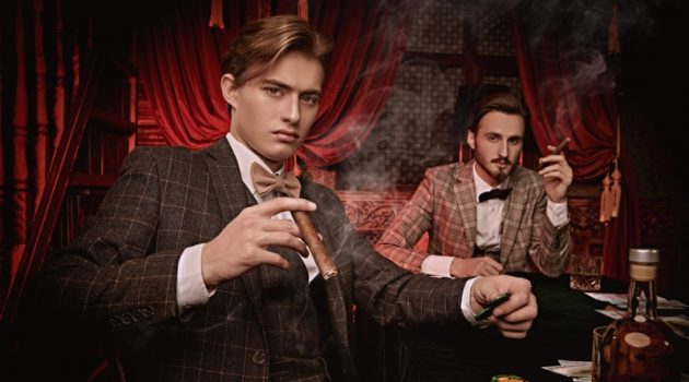 Well Dressed Men Suits Casino Cigars Luxury Drinks