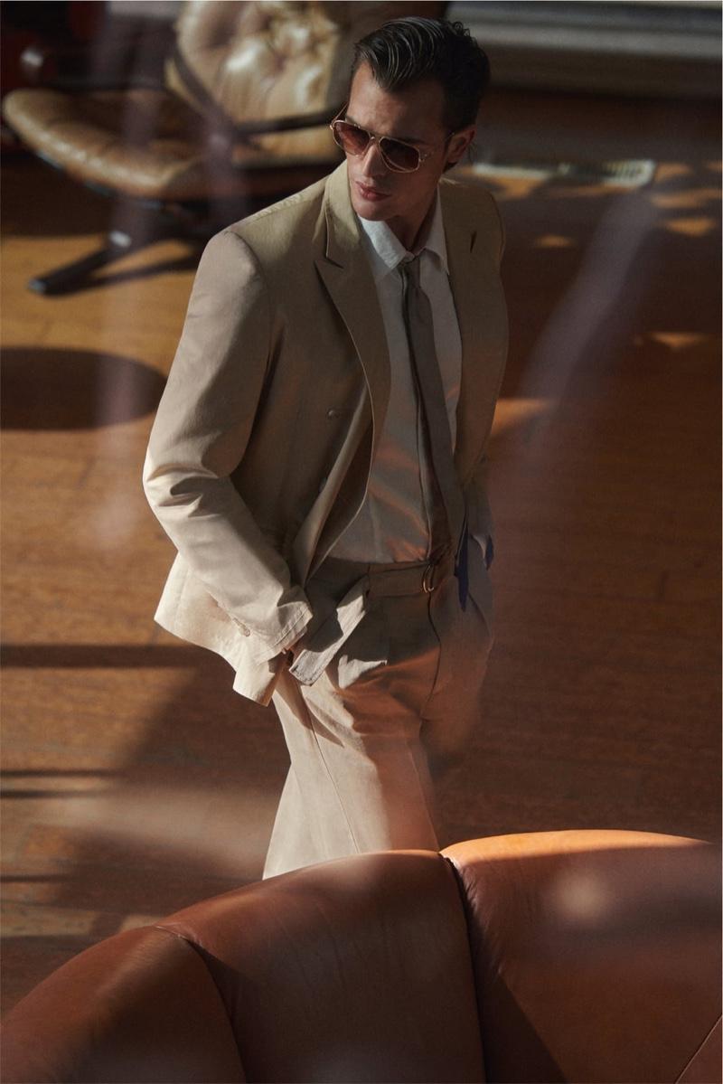 Dutch model Parker van Noord suits up for Zara's spring-summer 2021 men's campaign.