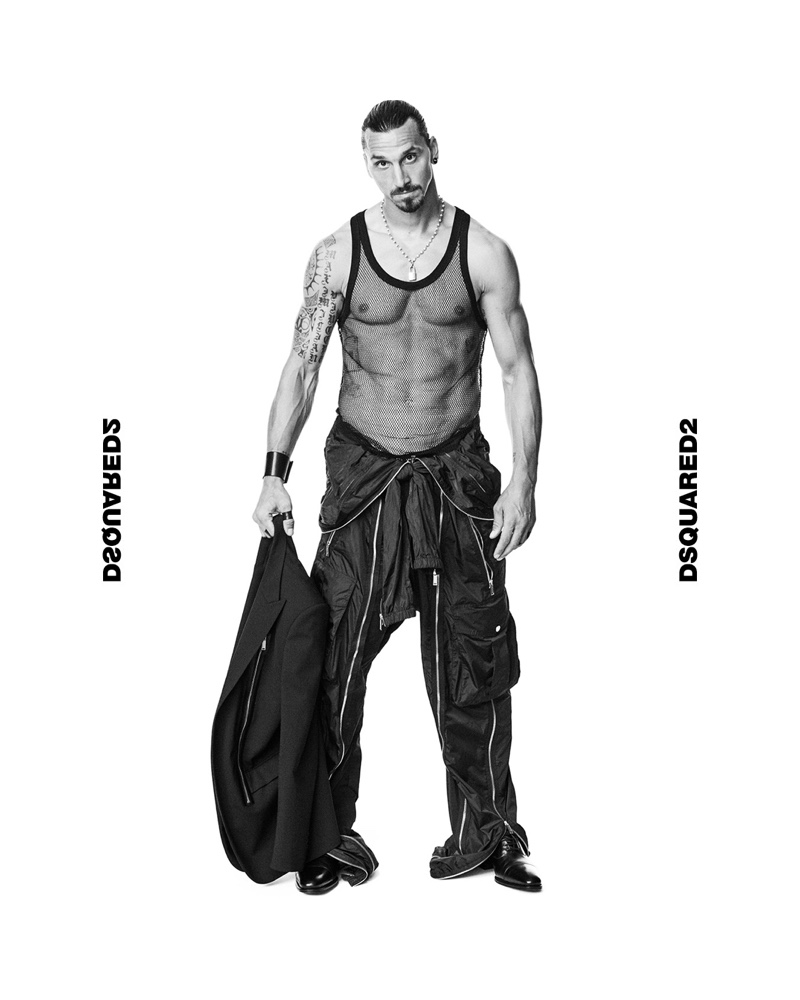 Rocking a mesh tank, Zlatan Ibrahimović connects with Dsquared2 for the brand's spring-summer 2021 men's campaign.