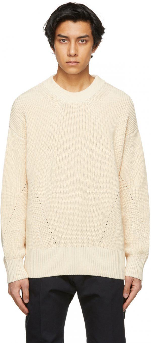 AMI Alexandre Mattiussi Beige Ribbed Boxy Sweater
