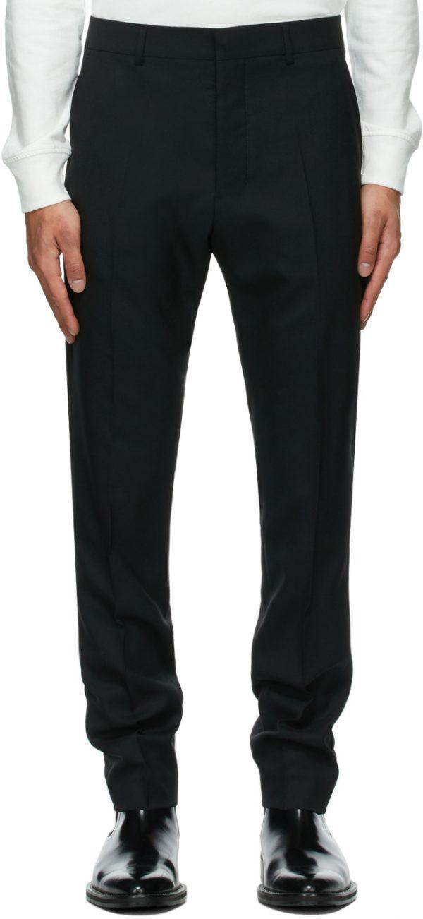 AMI Alexandre Mattiussi Black Wool Cigarette Trousers