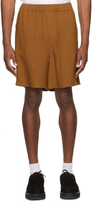 AMI Alexandre Mattiussi Brown Elasticized Waist Shorts