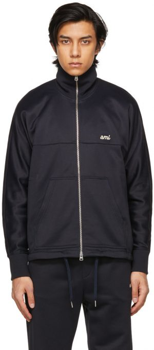 AMI Alexandre Mattiussi Navy Embroidered Technical Zipped Sweater