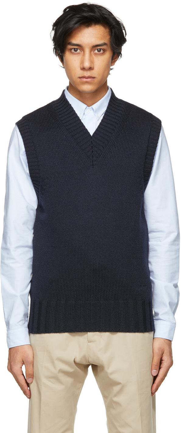 AMI Alexandre Mattiussi Navy Knit V-Neck Vest