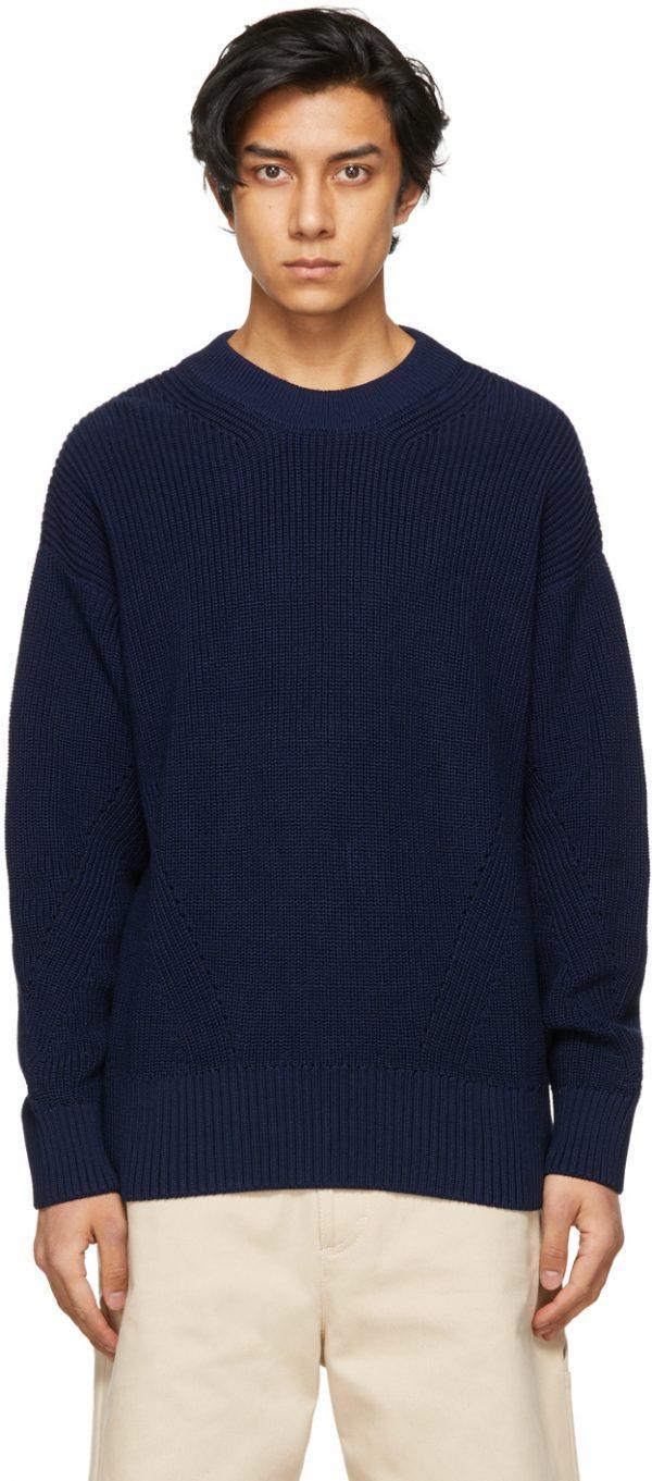 AMI Alexandre Mattiussi Navy Ribbed Boxy Sweater