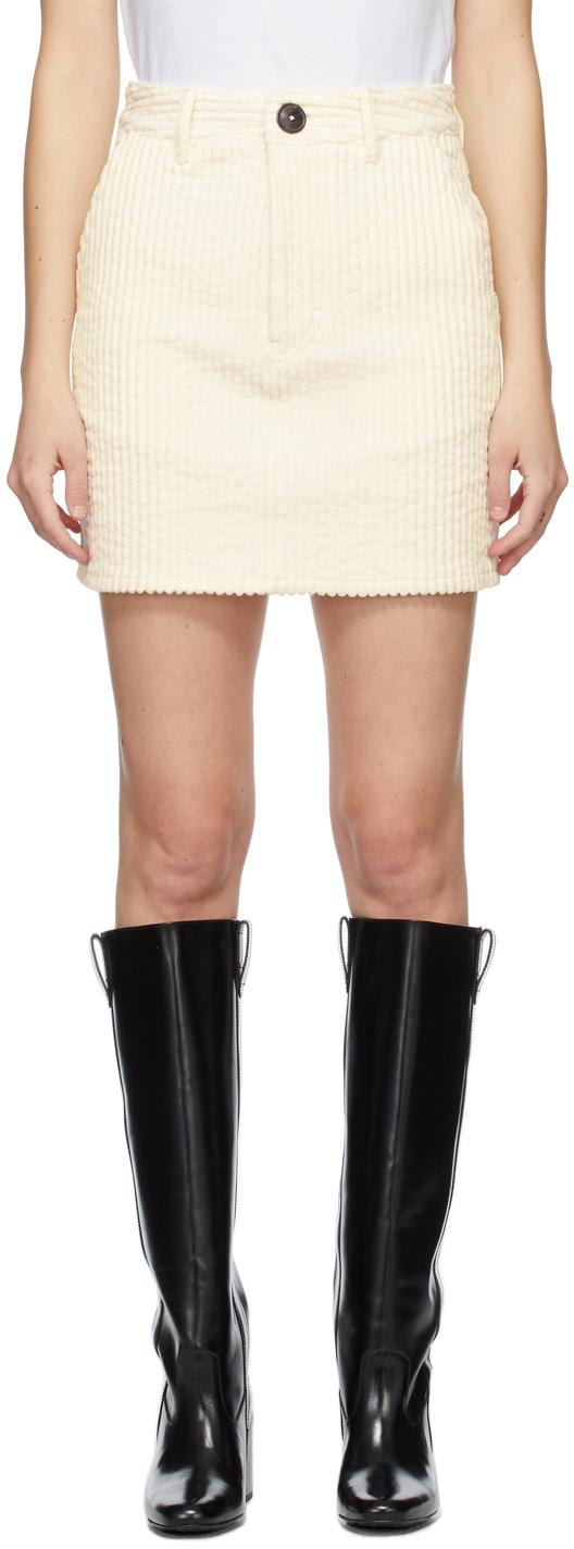 AMI Alexandre Mattiussi Off-White Corduroy Miniskirt