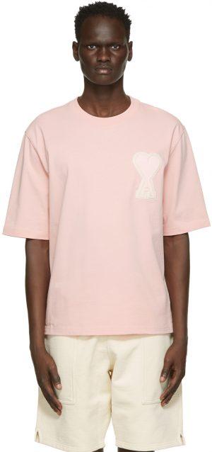 AMI Alexandre Mattiussi SSENSE Exclusive Pink Oversize Ami De Coeur T-Shirt