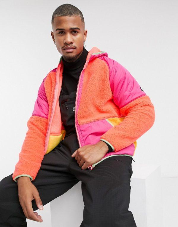 ASOS 4505 fleece hoodie in color block-Multi