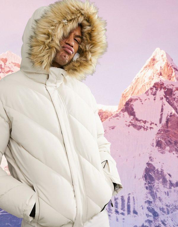 ASOS 4505 padded ski jacket with faux fur trim-Stone