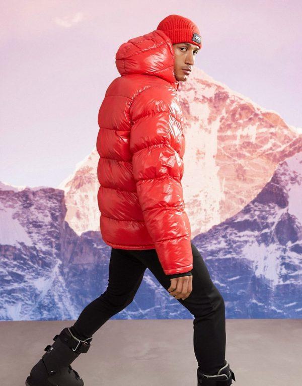 ASOS 4505 ski padded jacket in hi-shine-Red