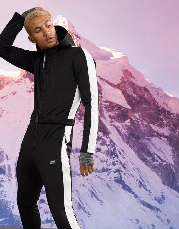 ASOS 4505 ski suit in slim fit with side stripe-Black