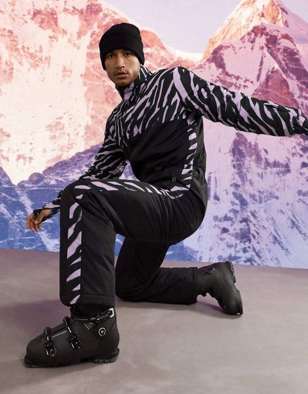 ASOS 4505 ski suit with animal print panel-Black