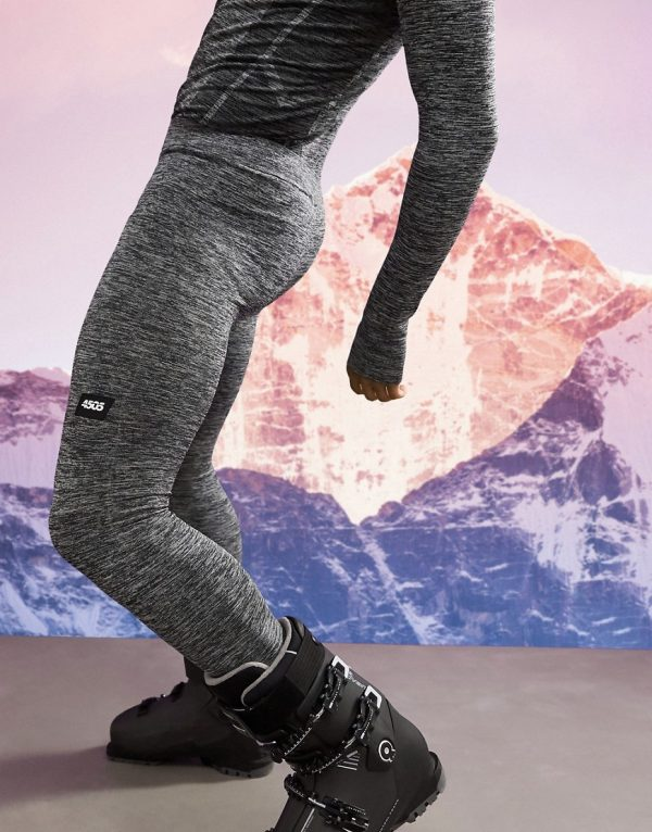 ASOS 4505 warm base layer tights in seamless space dye-Grey