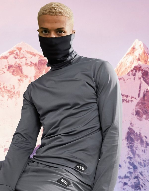 ASOS 4505 warm base layer top with funnel neck and face cover-Grey