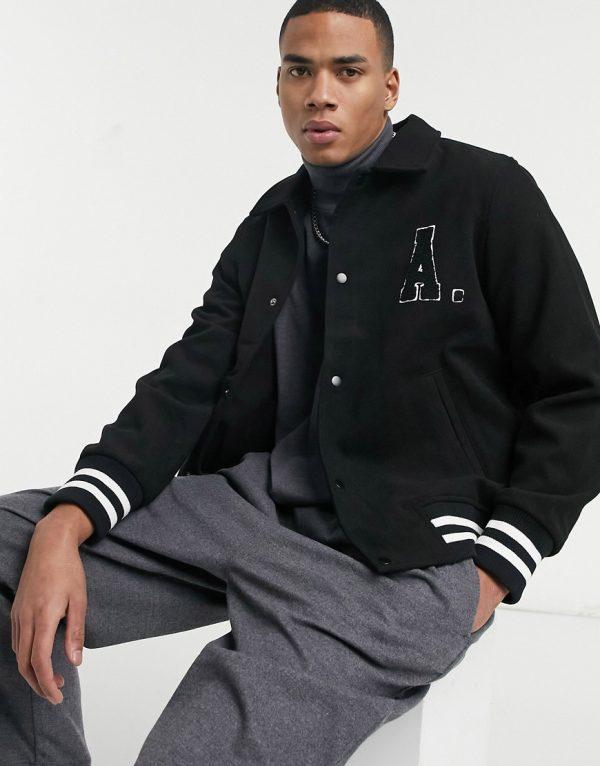 ASOS Actual wool mix varsity bomber jacket in black