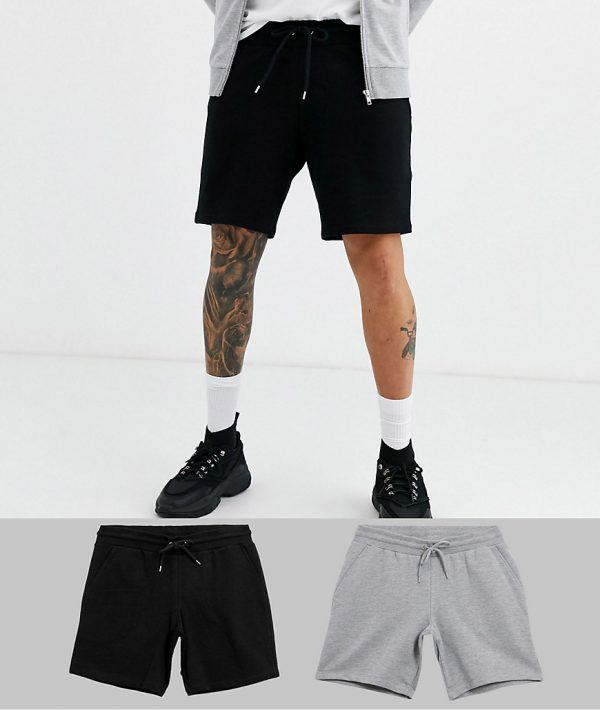 ASOS DESIGN 2 pack jersey slim shorts in grey marl/black save-Multi