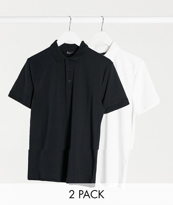 ASOS DESIGN 2 pack organic muscle fit jersey polo-Multi